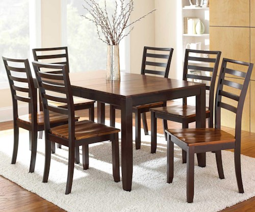 Steve Silver Abaco 7-Piece Leg Table and Ladder Back Chairs