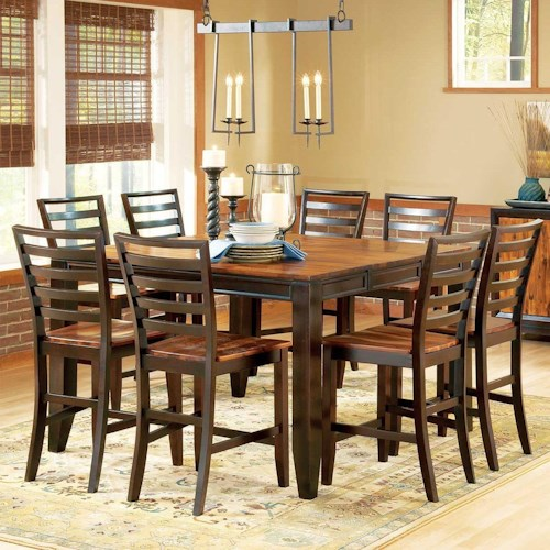 Steve Silver Abaco 9-Piece Gathering Table Set, 54