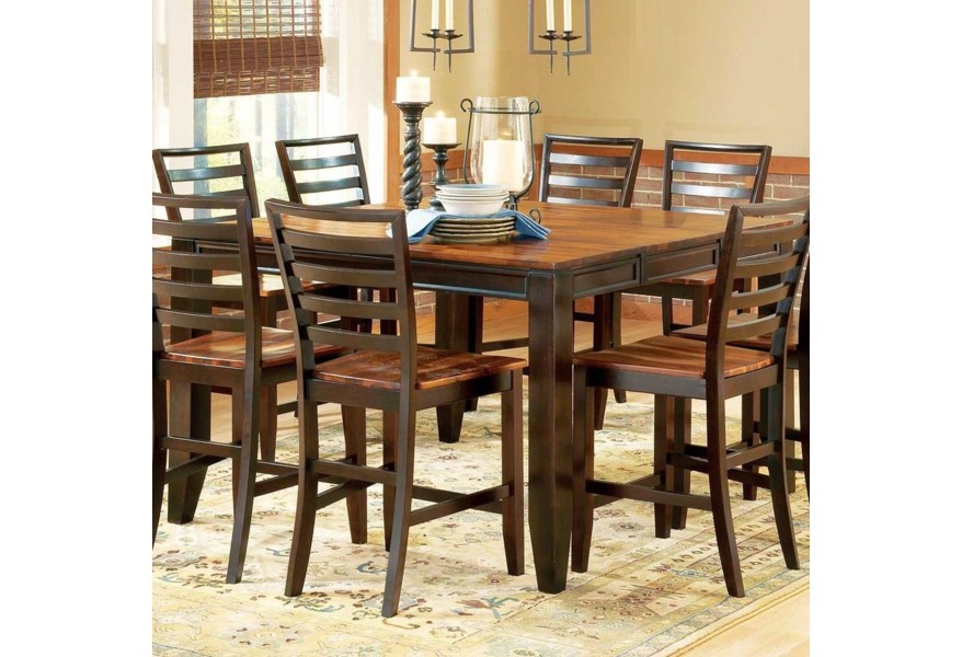 Prime Abaco 54 Square Solid Acacia Wood Top Counter Height Leg Table Prime Brothers Furniture Pub Tables