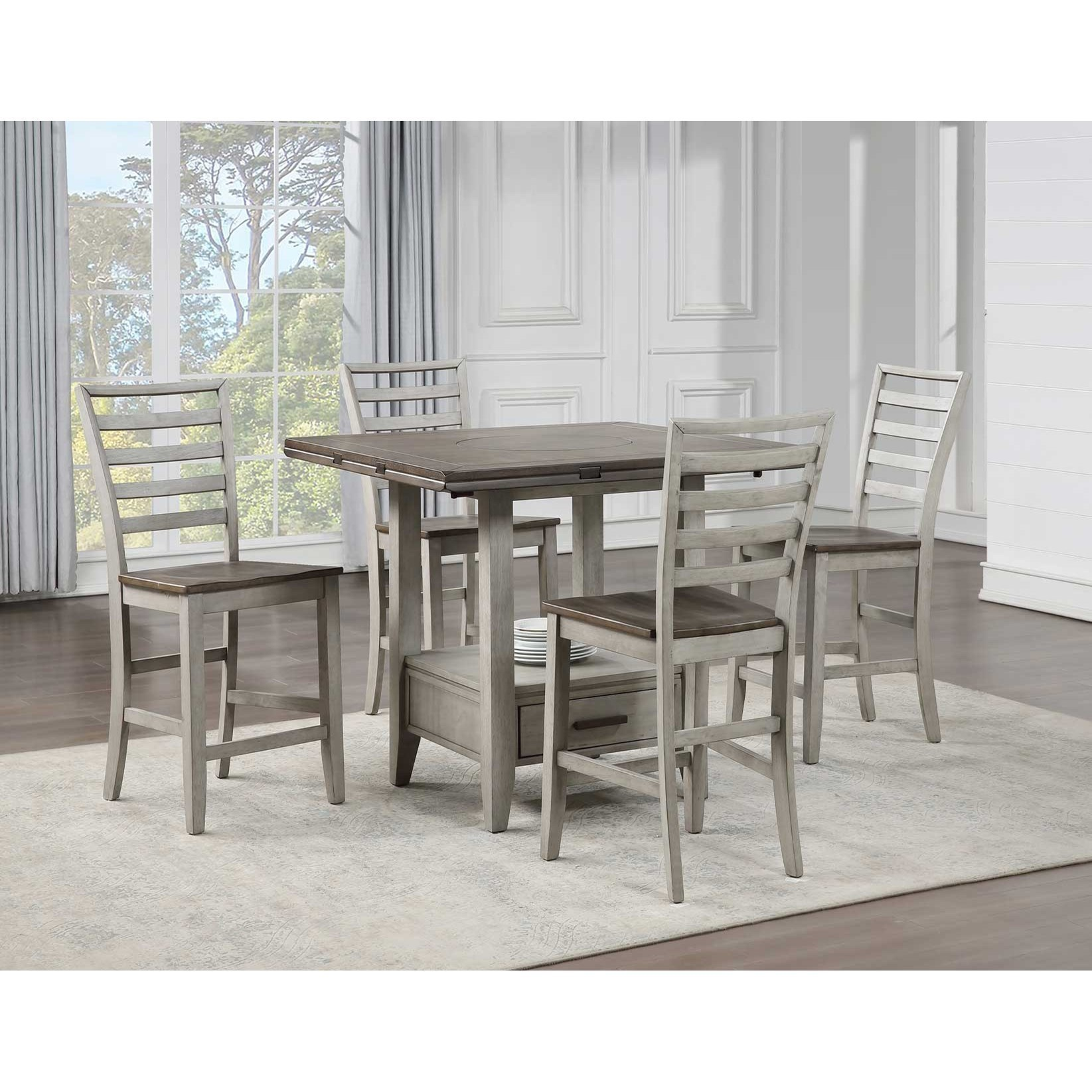 Casual 5-Piece Counter Table and Chair Set with Double Drop Leaf