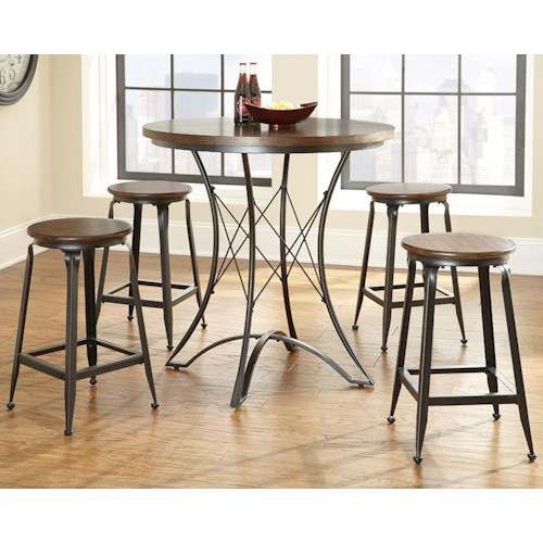 Steve Silver Adele Industrial Counter Height Dining Set with Metal Bases