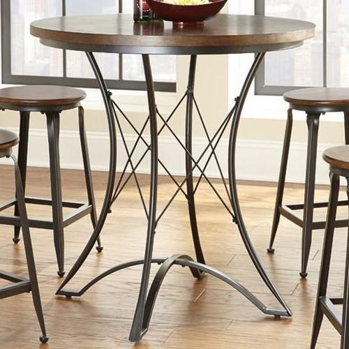 Steve Silver Adele Round Counter Table with Geometric Metal Pedestal