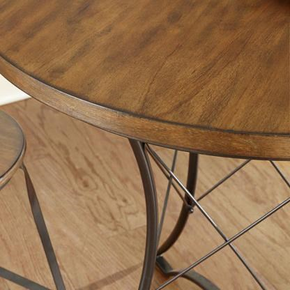 Table Features a Wood Top and Geometric Metal Base