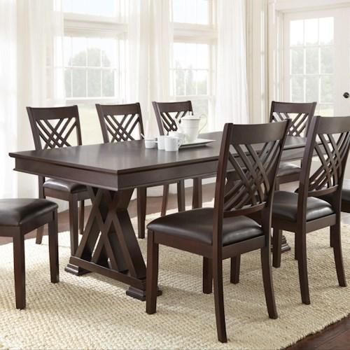 Steve Silver Adrian X Motif Dining Table and 18