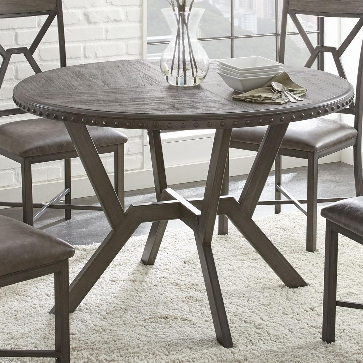 Lovely Steve Silver Alamo Round Dining Table With Metal Base