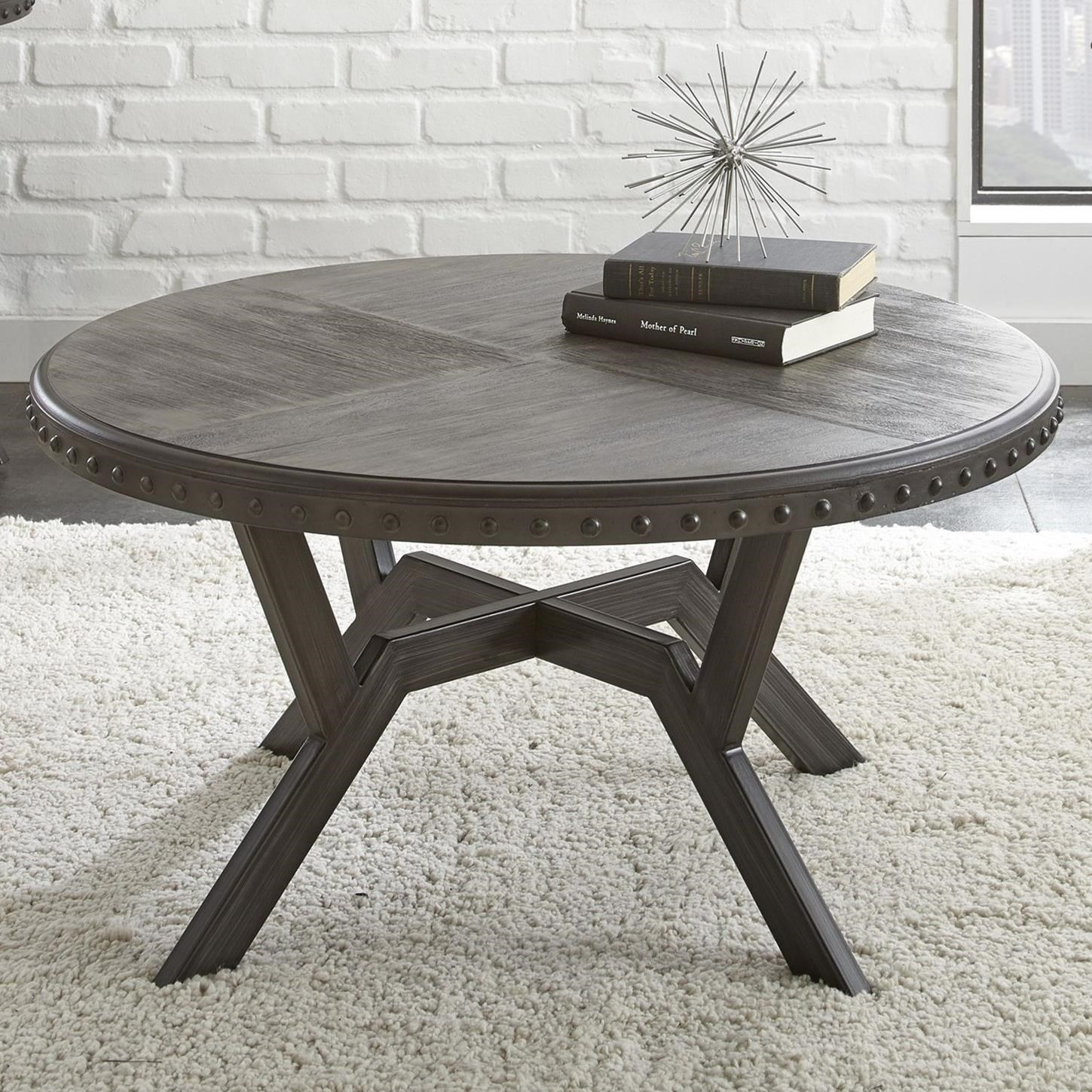 Alamo Round Cocktail Table With Exposed Rivets   Morris Home    Cocktail/Coffee Tables