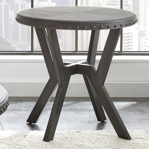 Steve Silver Alamo Round End Table with Metal Base