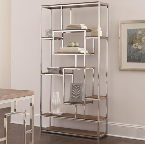 Steve Silver Alize Contemporary Book Shelf with Chrome Frame