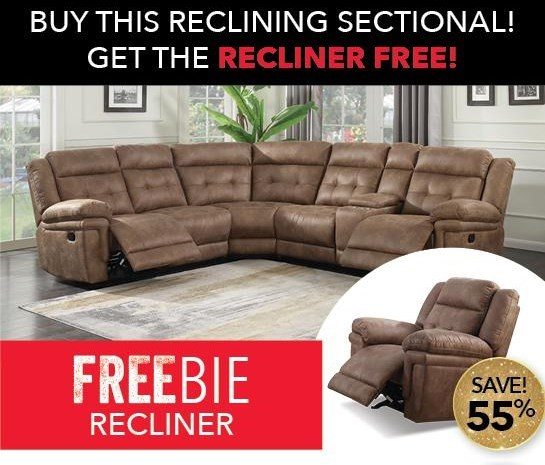 Morris Home Alllan Reclining Sectional Sofa With Free Rec