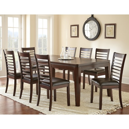 Steve Silver Allison 9-Piece Rectangular Extending Dining Table and Upholstered Side Dining Chair Set