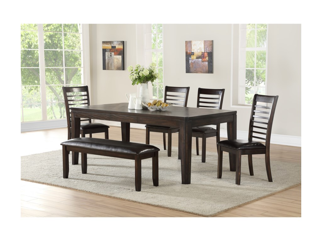 Vendor 3985 Ally6 Piece Table and Chair Set with Bench