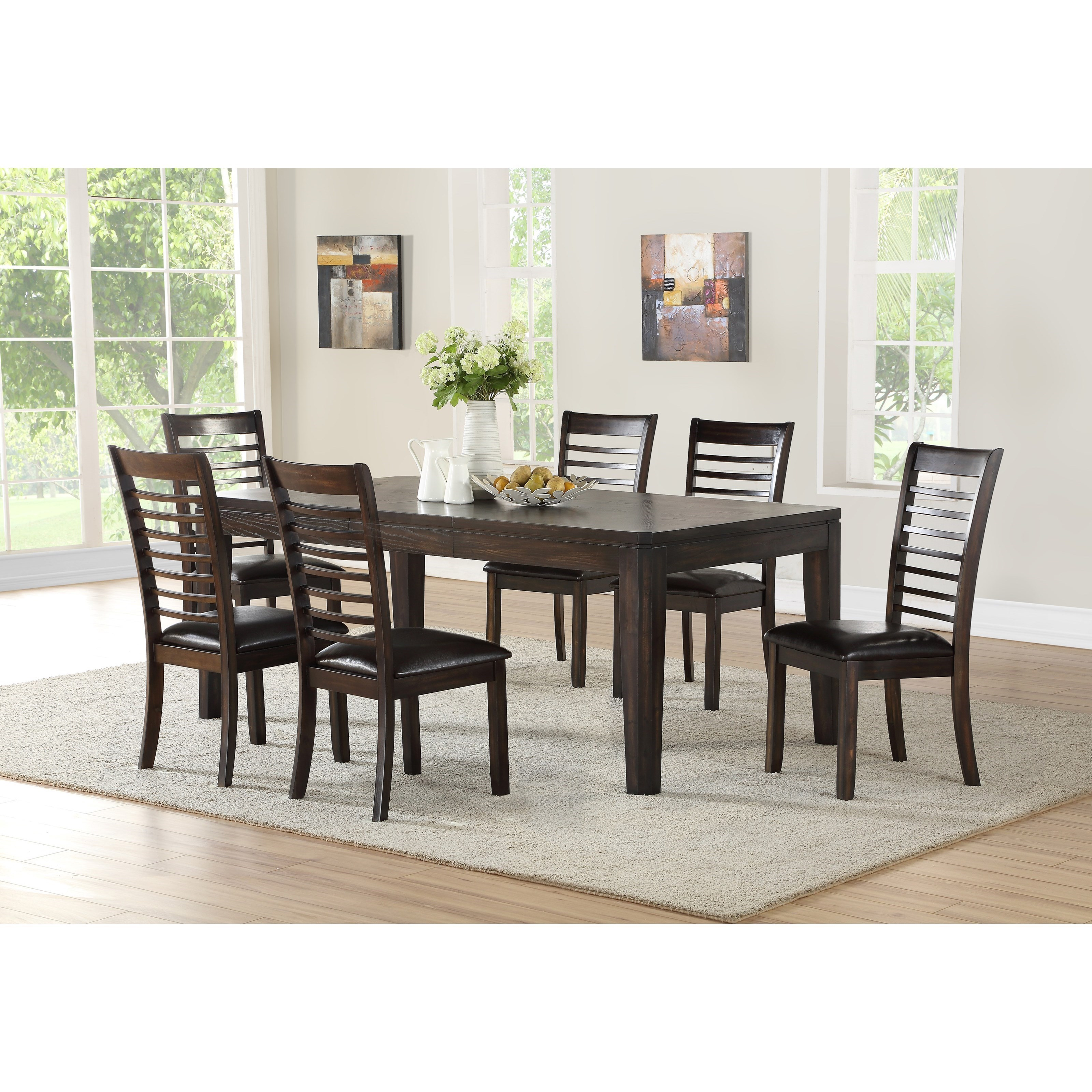 Casual 7 Piece Table and Upholstered Chair Set