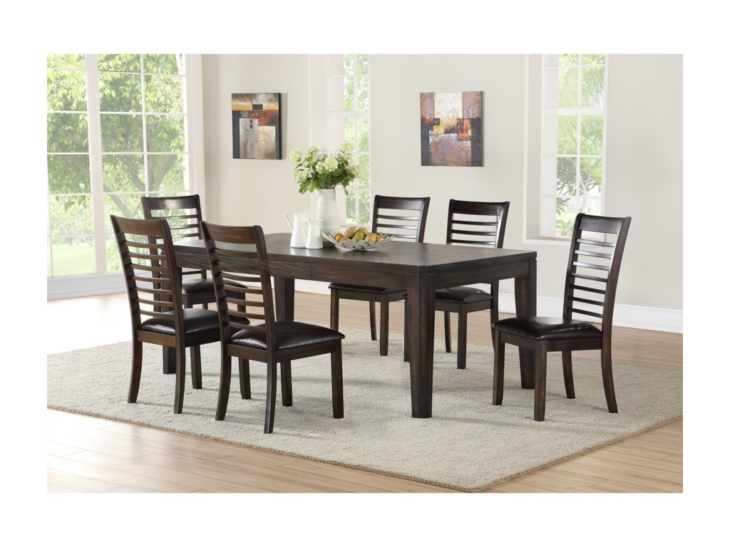 Steve Silver Ally Casual 7 Piece Table And Upholstered Chair Set