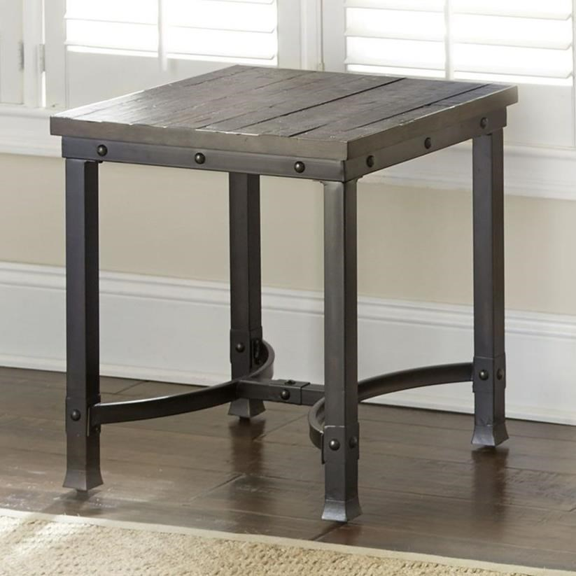 Industrial Square End Table with Iron Base