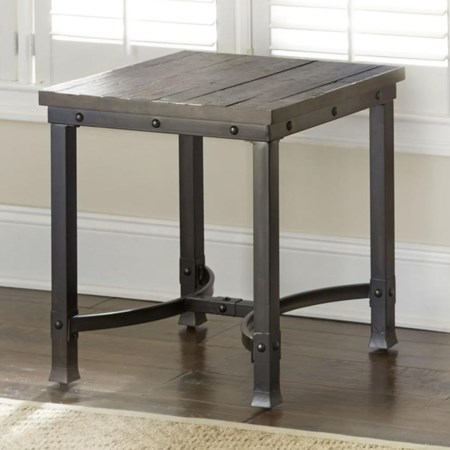 Industrial Square End Table