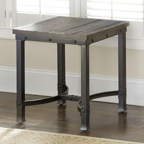 Steve Silver Ambrose Industrial Square End Table with Iron Base