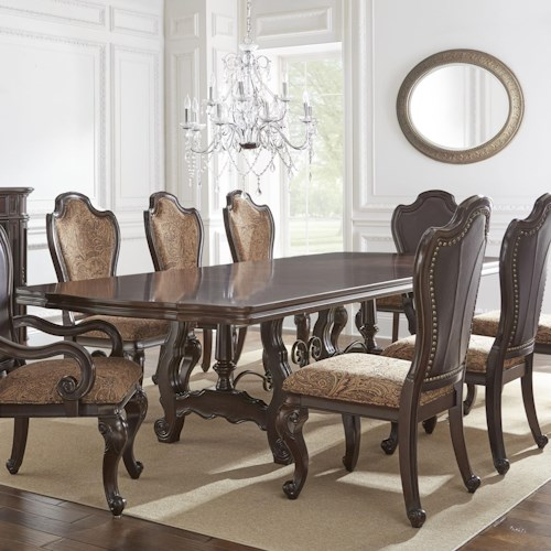 Steve Silver Angelina Double Pedestal Dining Table with Metal Stretcher
