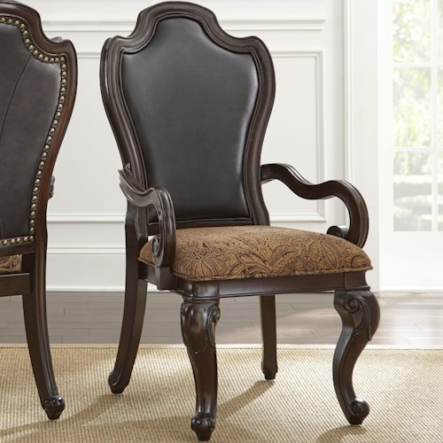 Steve Silver Angelina Traditional Upholstered Arm Chair with Scrolled Arms