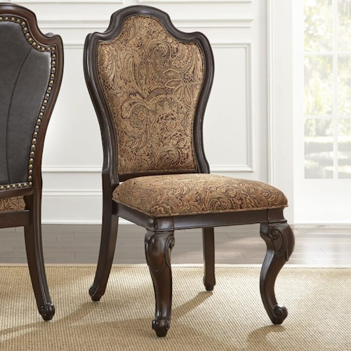 Steve Silver Angelina Traditional Side Chair with Paisley Upholstery