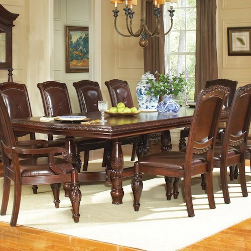 Steve Silver Antoinette Traditional Rectangular Dining Table with 24