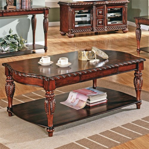 Steve Silver Antoinette Traditional 1-Shelf 1-Drawer Cocktail Table with Carved Trim
