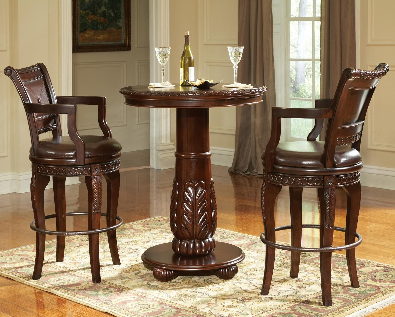 Steve Silver Antoinette 3 Piece Pedestal Pub Table U0026 Bar Stool Set