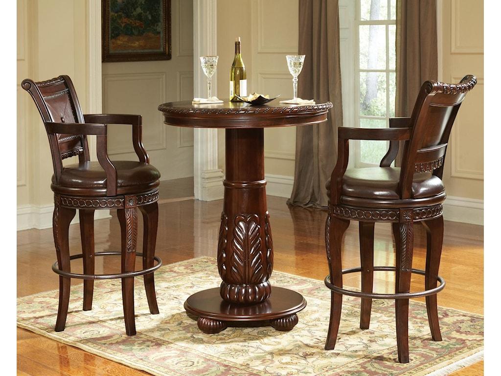 Prime Antoinette 3-Piece Pedestal Pub Table & Bar Stool Set | Prime ...
