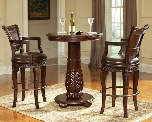 Steve Silver Antoinette 3 Piece Pedestal Pub Table Bar Stool Set
