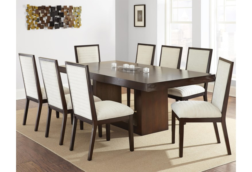 Steve Silver Antonio Contemporary Dining Set With Upholstered Side Chairs Standard Furniture Dining 7 Or More Piece Sets
