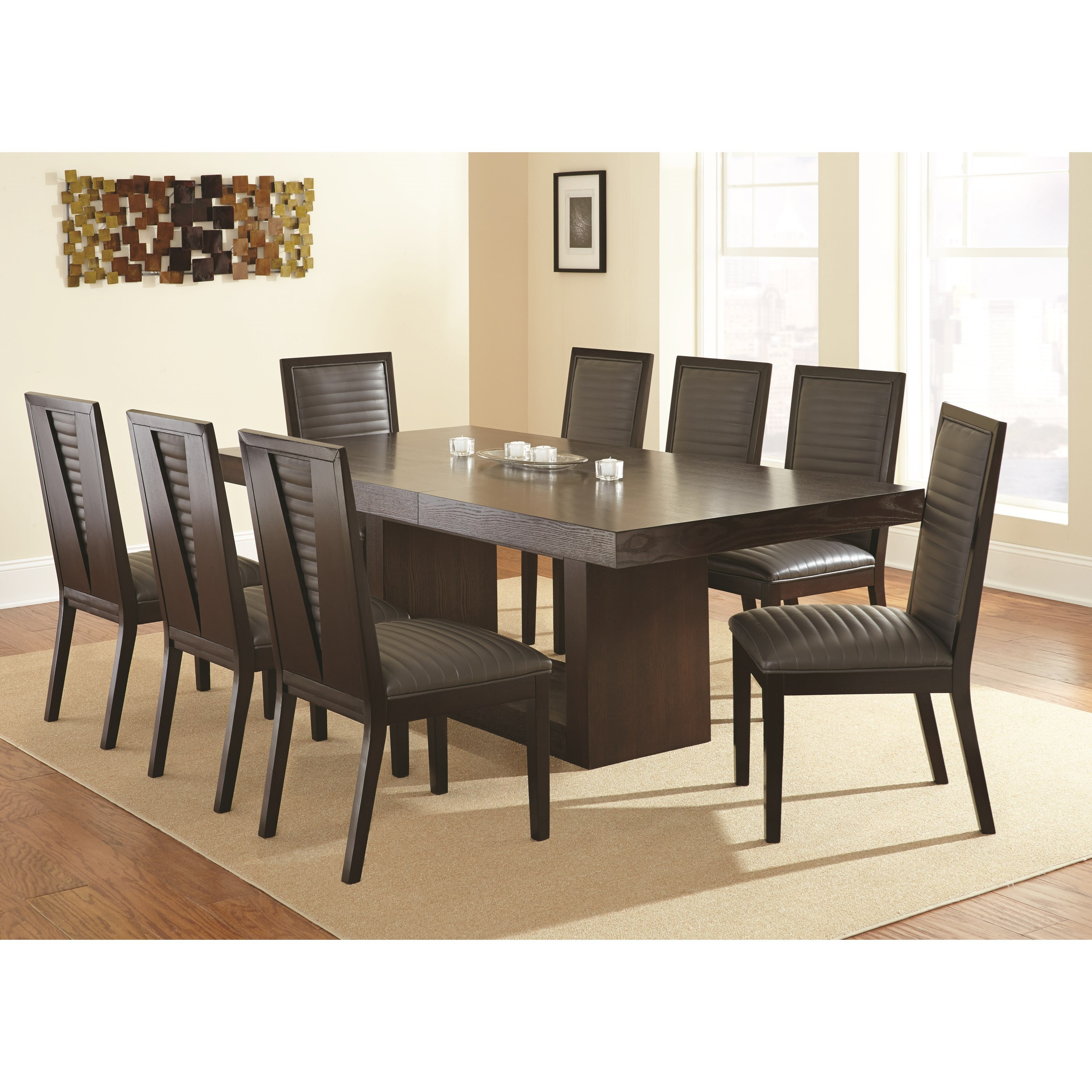 Contemporary Dining Set with Upholstered Side Chairs