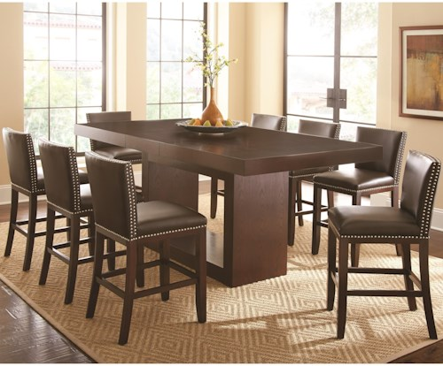 Steve Silver Antonio 9 Piece Counter Height Dining Set with Tiffany Upholstered Chairs