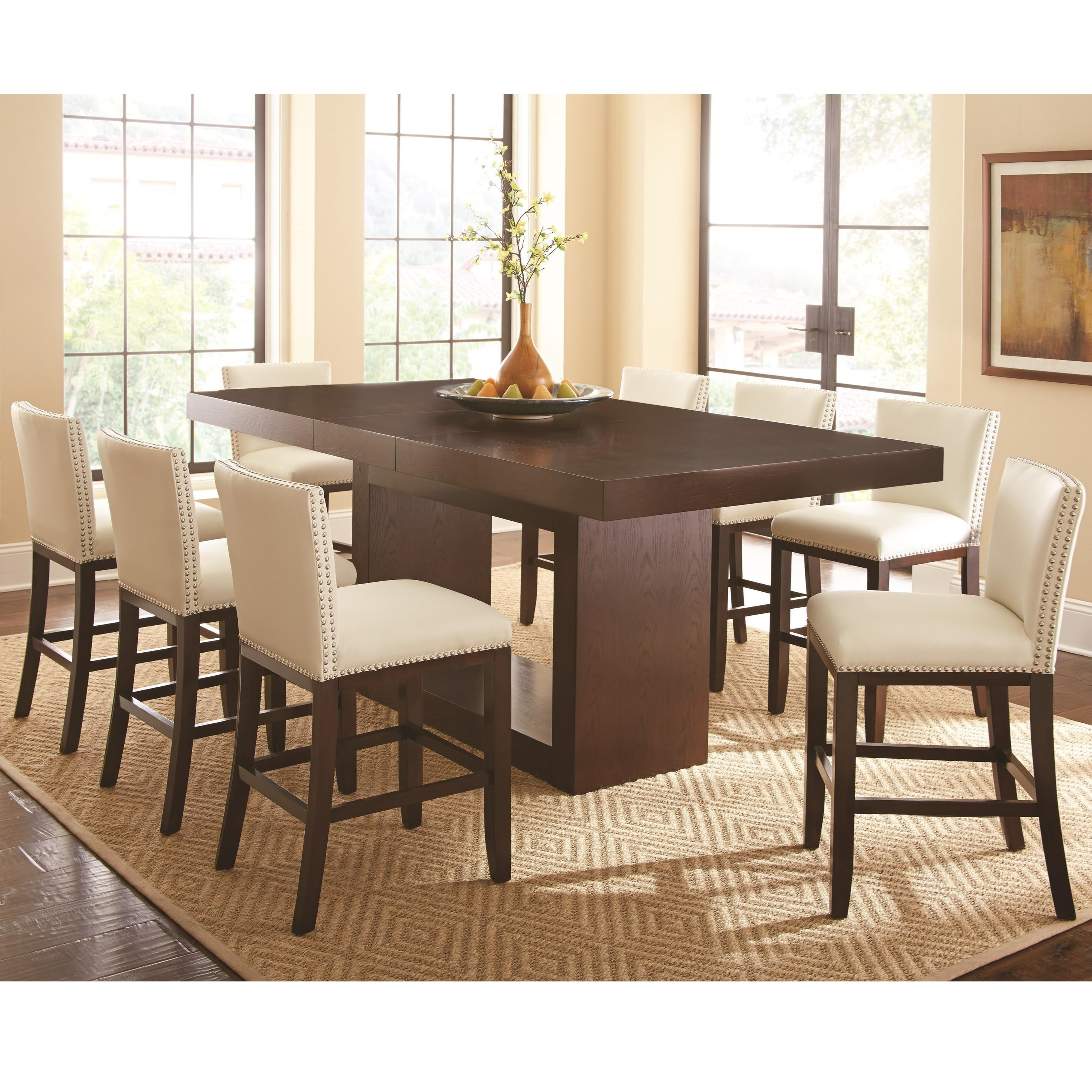 Antonio 9 Piece Counter Height Dining Set With Tiffany Upholstered Chairs  By Steve Silver