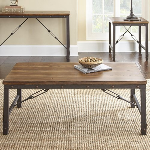 Steve Silver Ashford Industrial Cocktail Table with Cable Stretchers