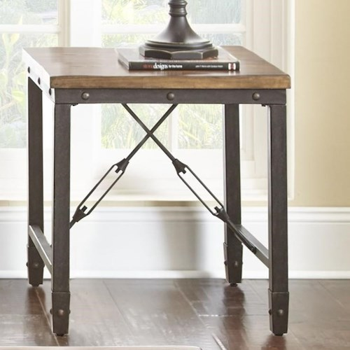 Steve Silver Ashford Industrial End Table with Solid Pine Top