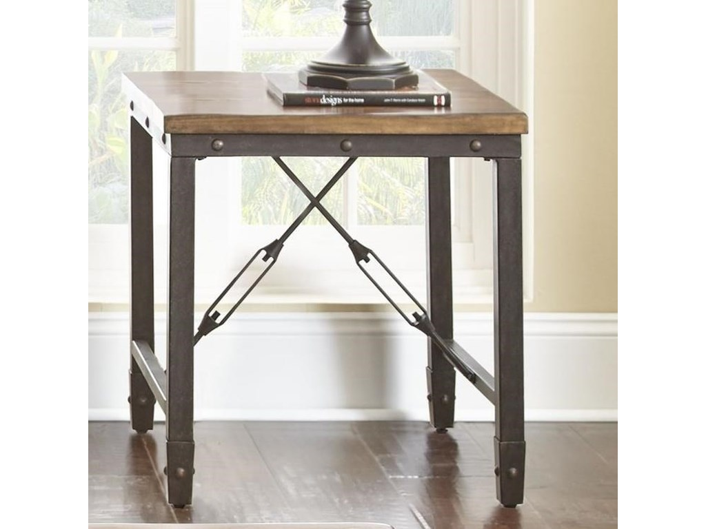 Ashford Industrial End Table With Solid Pine Top By Steve Silver At Wayside Furniture
