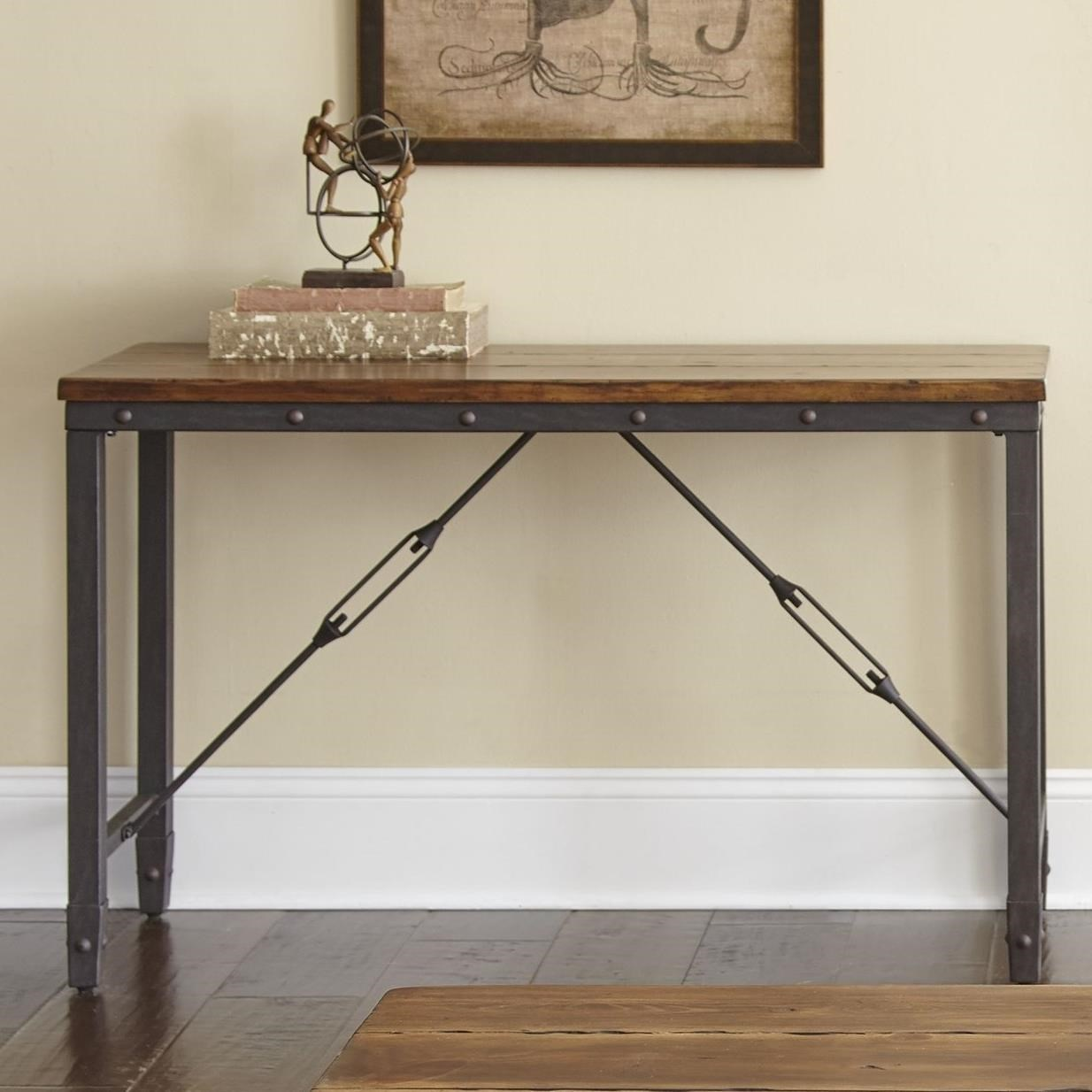 Industrial Sofa Table with Cable Stretchers
