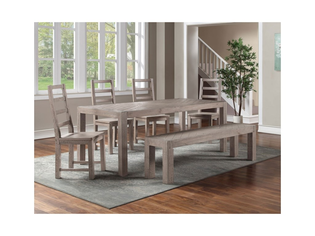 Steve Silver AucklandTable & Chair Set with Bench