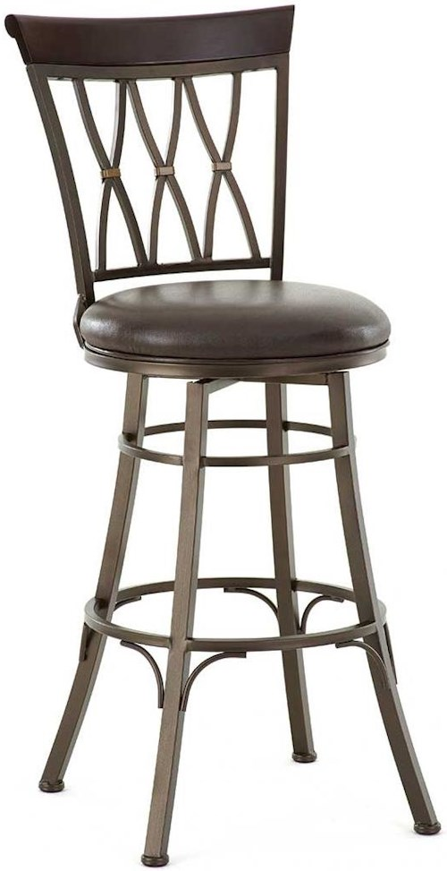 Steve Silver Bali Swivel Bar Stool with X Back