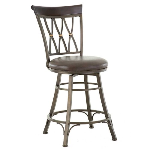 Steve Silver Bali Swivel Counter Stool with X Back