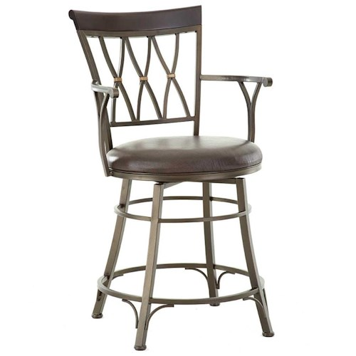 Steve Silver Bali Jumbo Swivel Counter Chair with Armrest