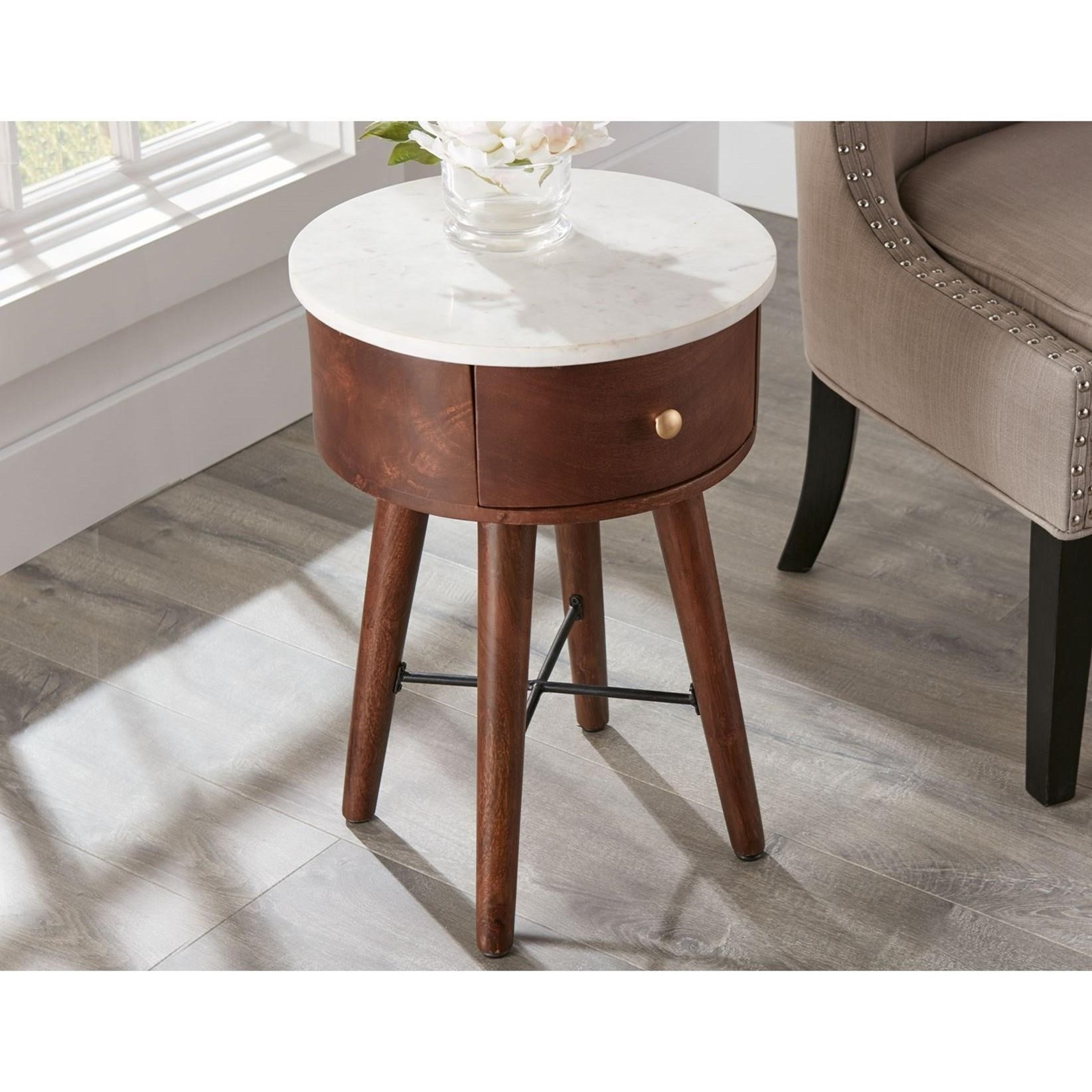 Transitional White Marble Top Accent Table with Drawer