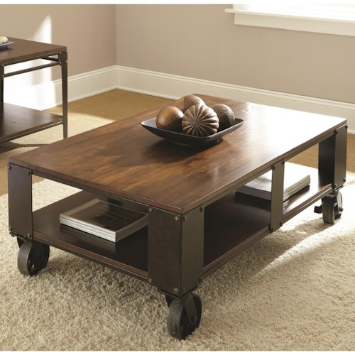 Steve Silver Barrett Industrial Cocktail Table with Casters