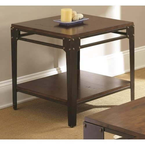 Steve Silver Barrett Square End Table with Shelf