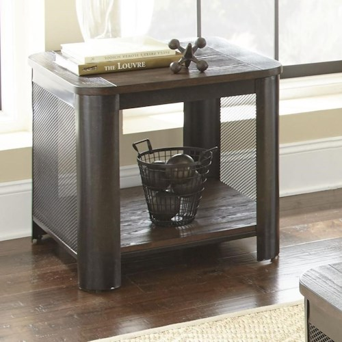 Steve Silver Barrow End Table with Wire Mesh Sides