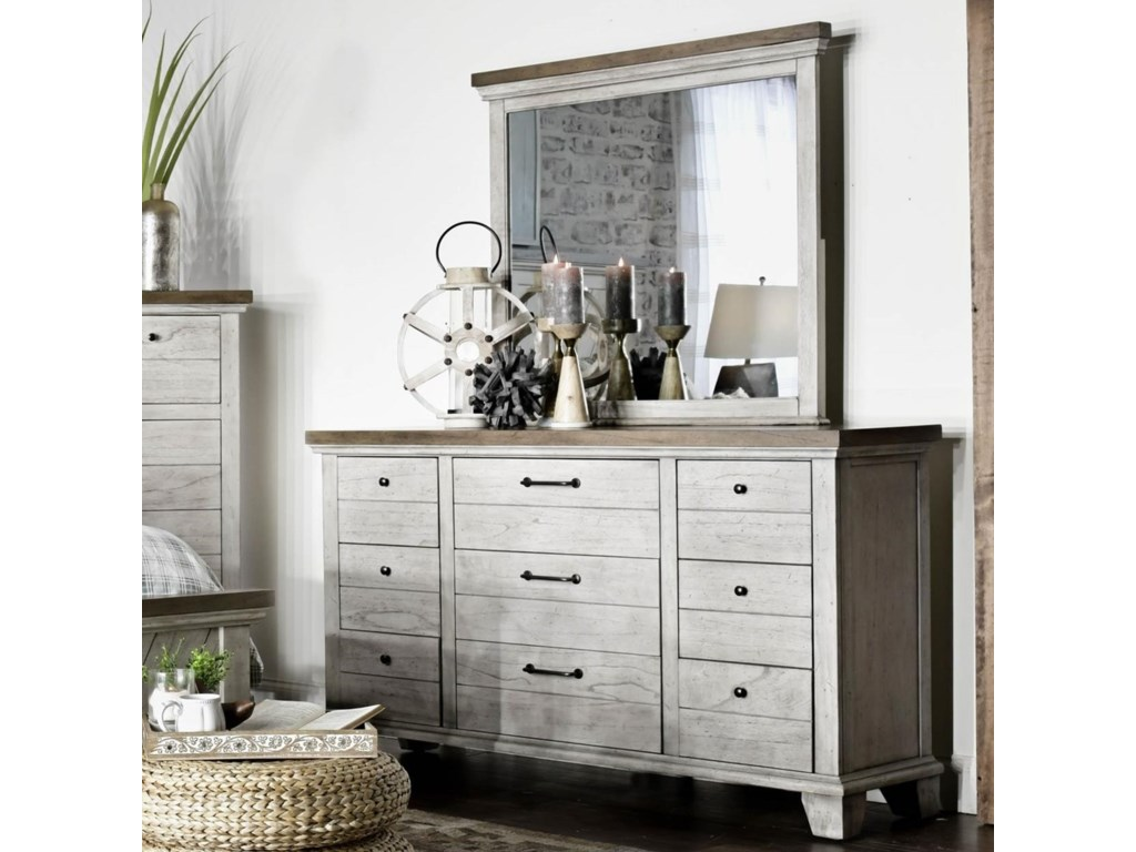 newest 77ecd 2695b Bear Creek Farmhouse Nine Drawer Dresser and Mirror Set by Steve Silver at  Van Hill Furniture