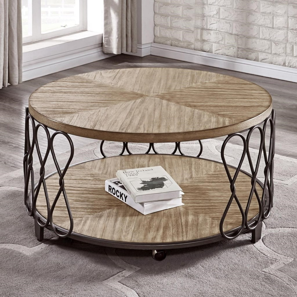 Belcourt Relaxed Vintage Wood And Metal Round Cocktail Table With