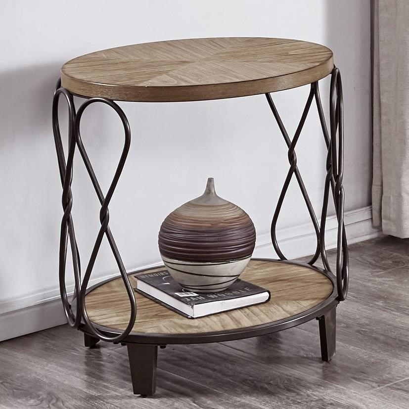 Belcourt Relaxed Vintage Wood And Metal Round End Table