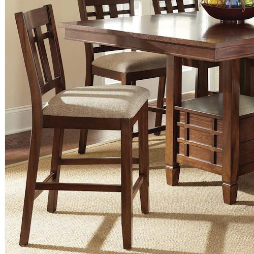 Steve Silver Bolton Side Counter Chair with Slat Design and Tapered Legs