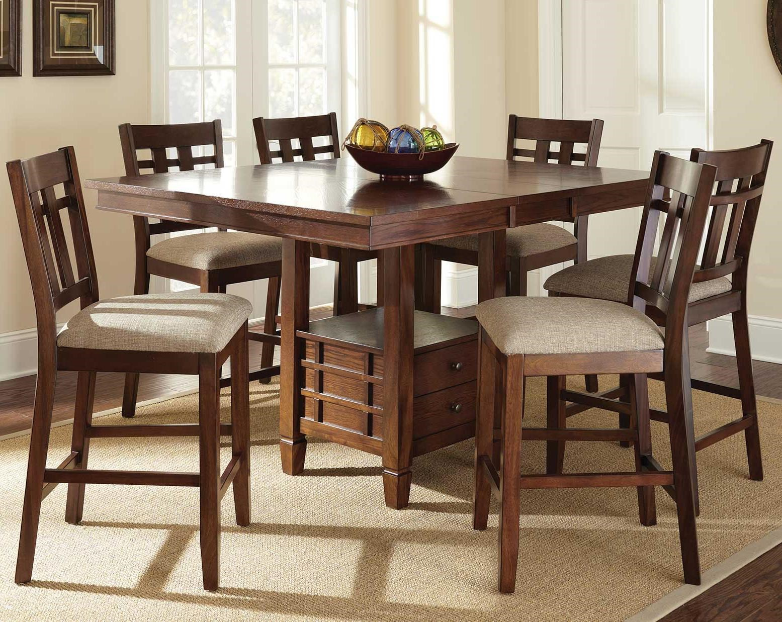 Steve Silver Bolton 7 Piece Counter Height Dining Set With Storage Table