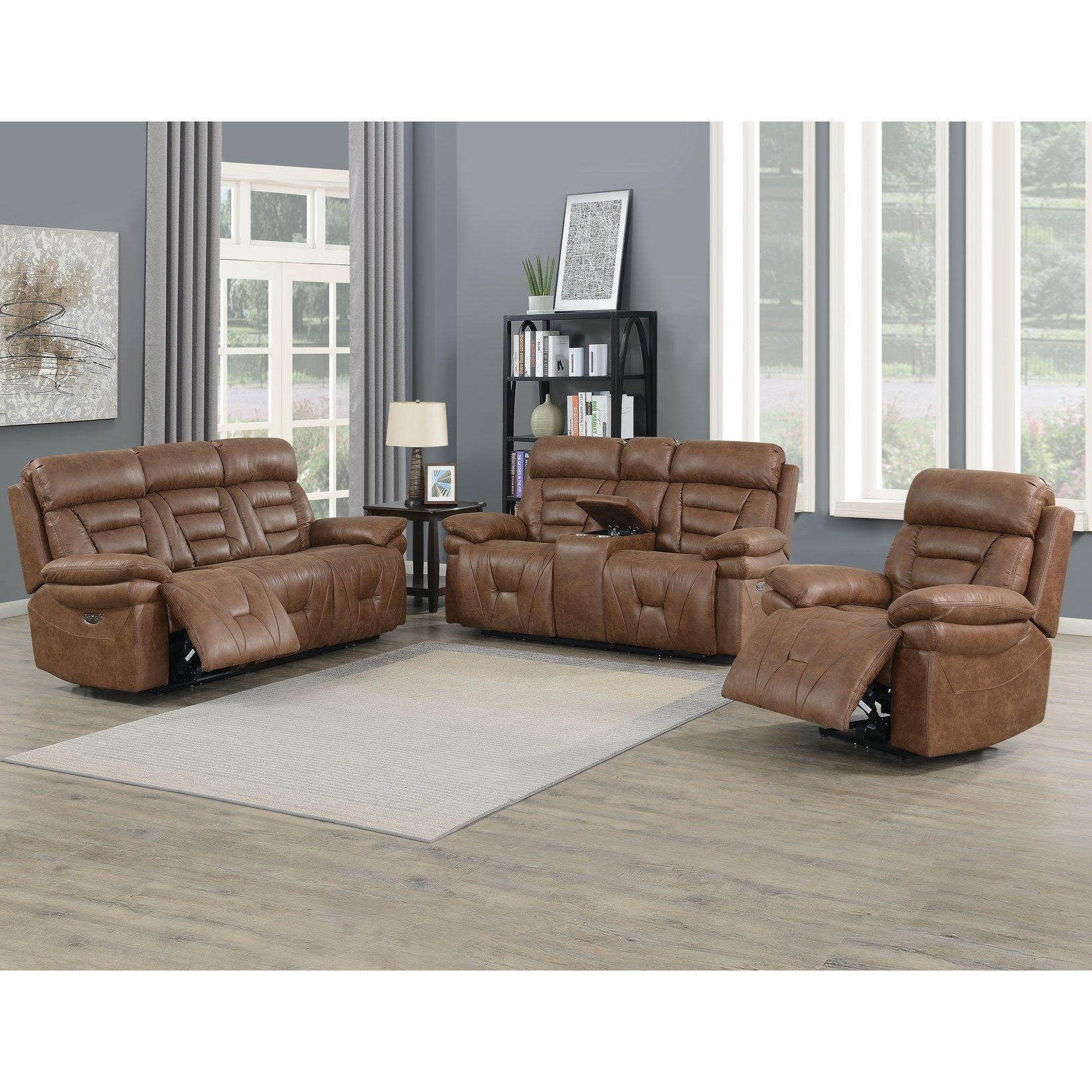 Casual Lay Flat Power Reclining Living Room Group